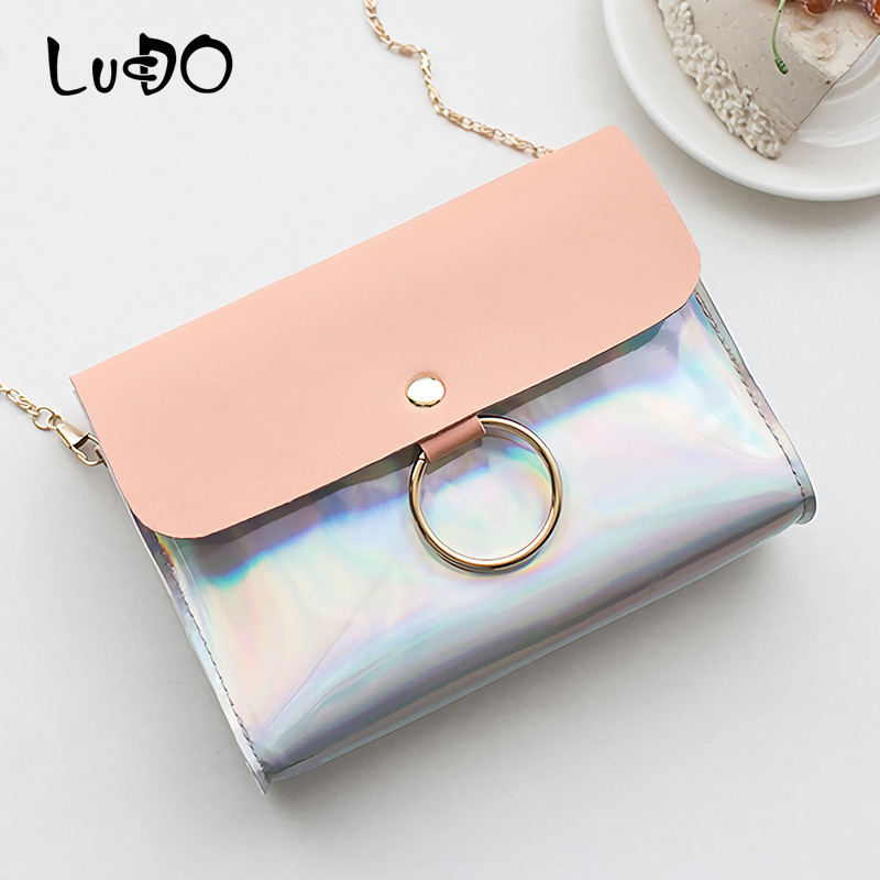 LUCDO Fashion Laser Shoulder Bag Mini Chain Crossbody Bag Small Evening Clutch Bag Mobile Phone Mini Flap Female Bolsas Feminina