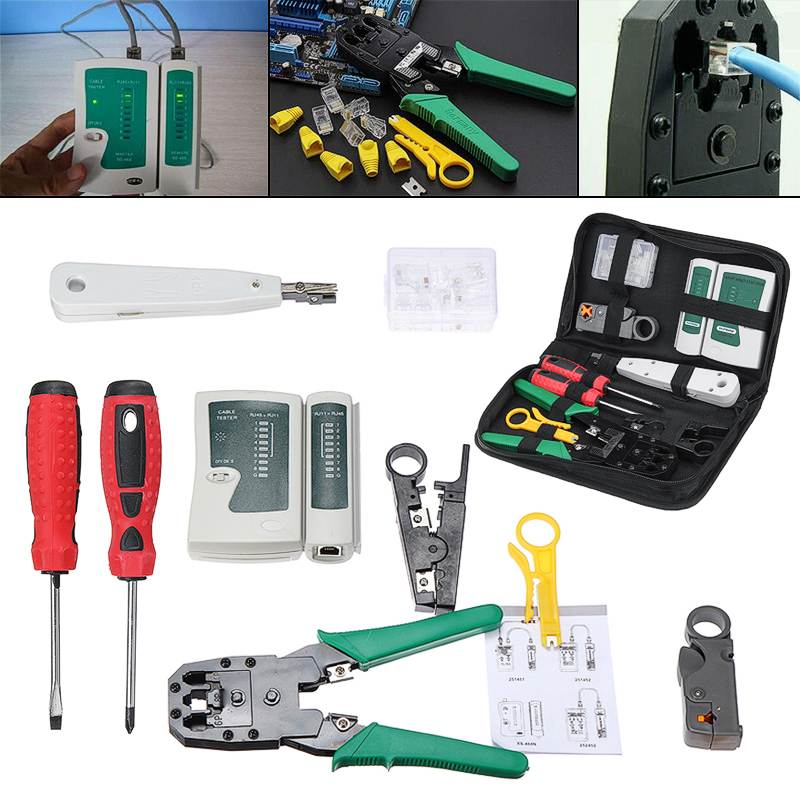 New Computer Network Tool Repair 18Pcs Set Network Ethernet RJ45 RJ11 RJ12 CAT5 CAT5e Cable Tester Phone LAN Crimper Tools Kit