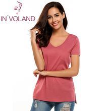 купить Brand Fashion Summer T Shirt Women t shirts Solid Pocket Womens Tops Tee Shirt Femme V Neck Short Sleeve Tops Clearance онлайн