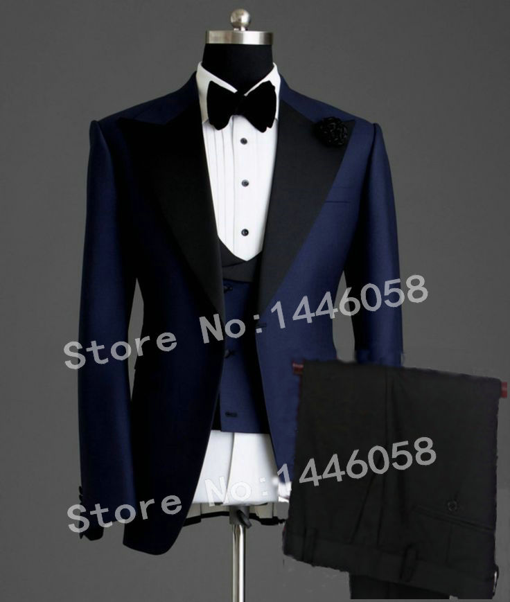 Tuxedo Jacket Blazer Groom Suit Wedding-Suits Navy-Blue Classic Elegant Smoking Best-Man