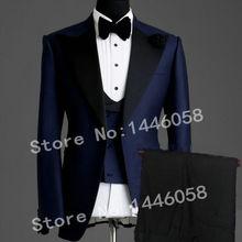 Элегантные брендовые классические мужские костюмы из 3 предметов Темно-синий костюм жениха смокинг пиджак свадебные костюмы для мужчин лучший мужской блейзер