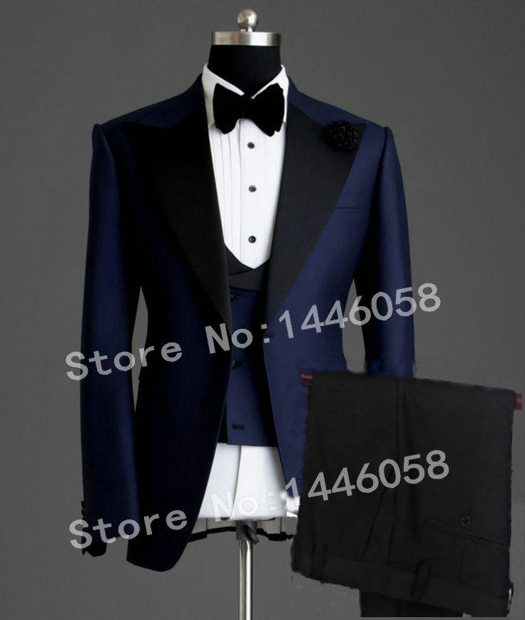 2019 Elegant Brand Classic Men Suits 3 Piece Navy Blue Groom Suit Smoking Tuxedo Jacket Wedding Suits For Men Best Man Blazer