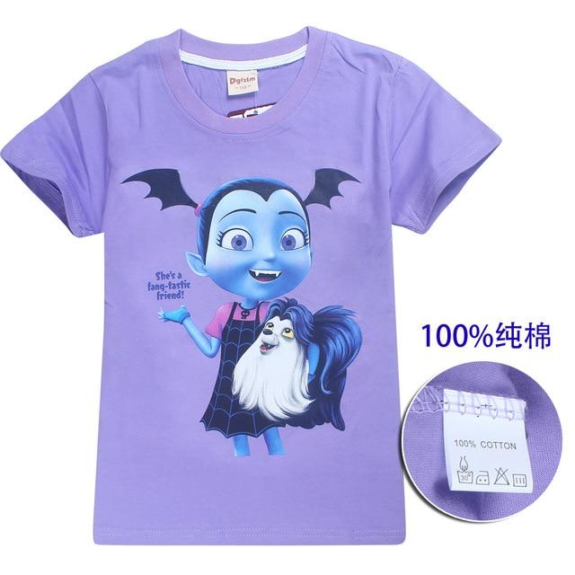 fc7602819 2018 Summer Kids girls T Shirt Cartoon Vampirina Baby girl Toddler Tees  Boys Cotton Tops and moana Tees Children trolls T-shirts
