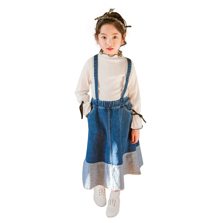 Girls Denim Skirts Fall Winter Kids Clothes Casual Toddler Girl Jean Skirt with Pocket Big children Clothing 4 6 8 10 12 14 yr