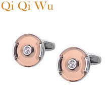 Qi Wu Glossy Crystal Round Cufflinks Luxury High Quality Mens Shirt Cuff Buttons Gifts For Men Silver Plated links