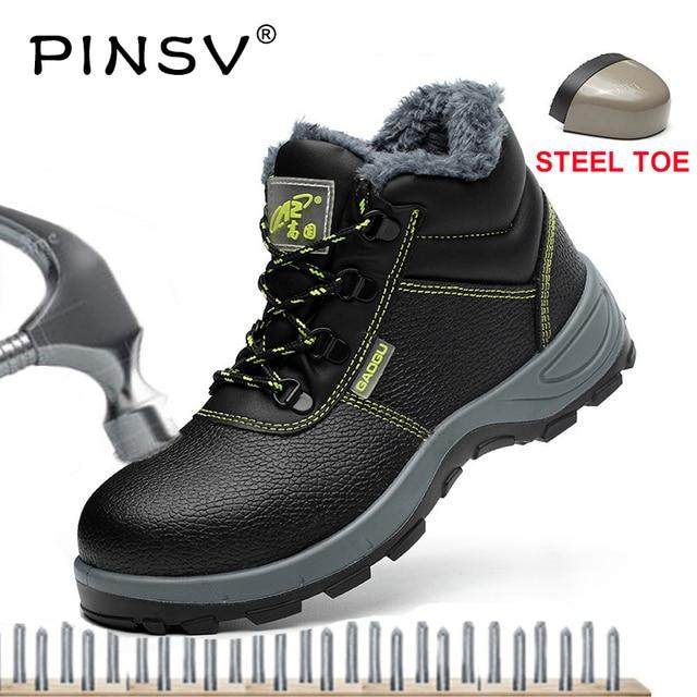 PINSV Plus rozmiar ze stali Toe buty męskie obuwie ochronne skórzane buty robocze męskie buty Push kostki buty robocze