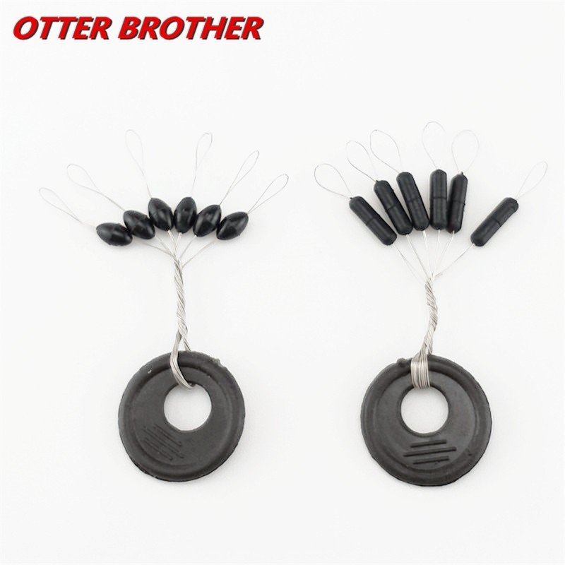 60 Pcs 10 Groups/Set Float Black Rubber Stopper Fishing Bobber Stopper Float Oval Bean Space Fishing Line Tackle Accessories