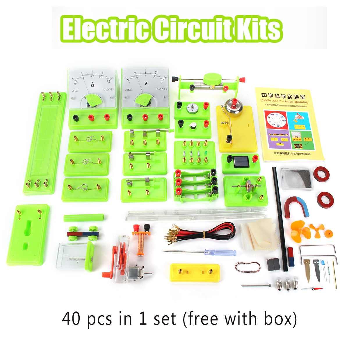 40pcs/set DIY Science Physics Experiment Electromagnetic Electricity Learn Test Box Experiments Puzzle Assembled Kits
