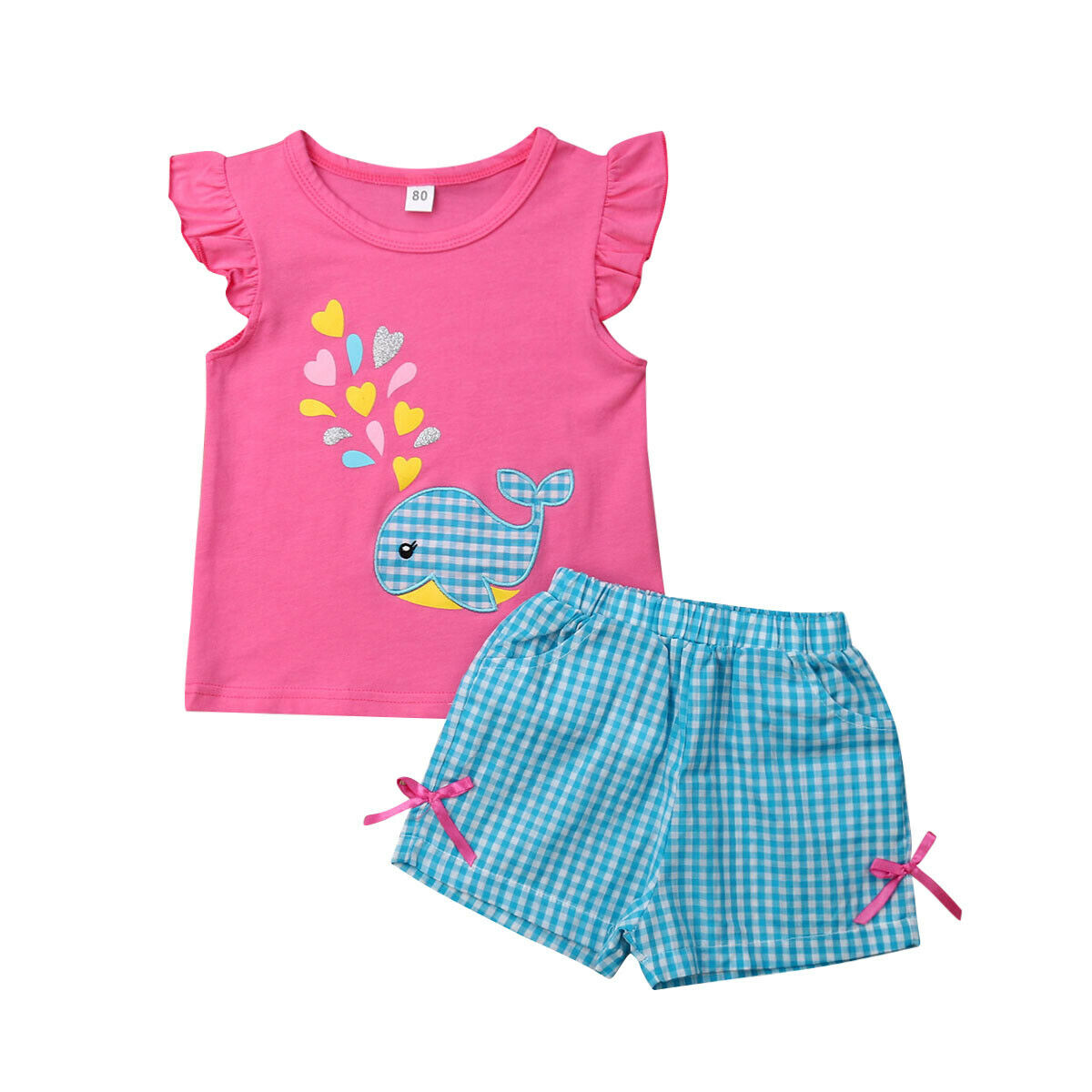 Summer Baby Girls Clothes 2PCS T-shirt Shorts Boutique Outfit 0-5Y