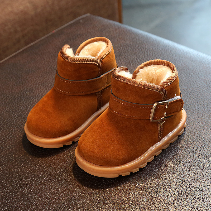 Winter Warm Children Boots Moccasins Soft Bottom Fashion Pure Color Toddler Kids Waterproof Warm Baby Boy Girl Snow Boots 1*Pair