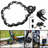 Bike Bicycle Motorcycle Foldable Anti Theft Folding Hamburg Chain Security Lock Durable Easily Fixed Zinc Alloy+ ABS Black