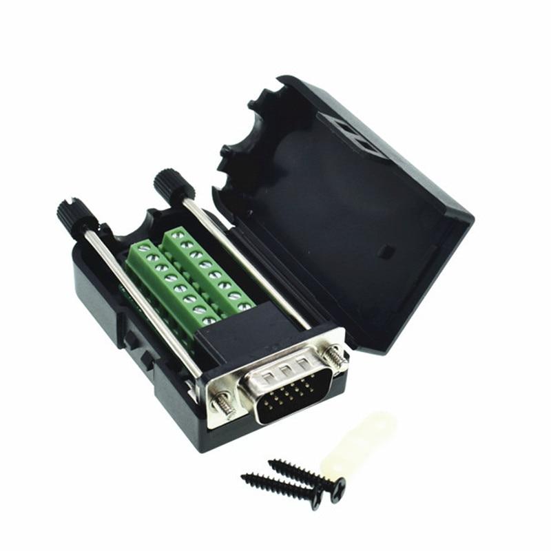 D-SUB DB15 VGA Male 3 Rows 15 Pin Plug Breakout Terminals Screw Type DIY ConnectorD-SUB DB15 VGA Male 3 Rows 15 Pin Plug Breakout Terminals Screw Type DIY Connector