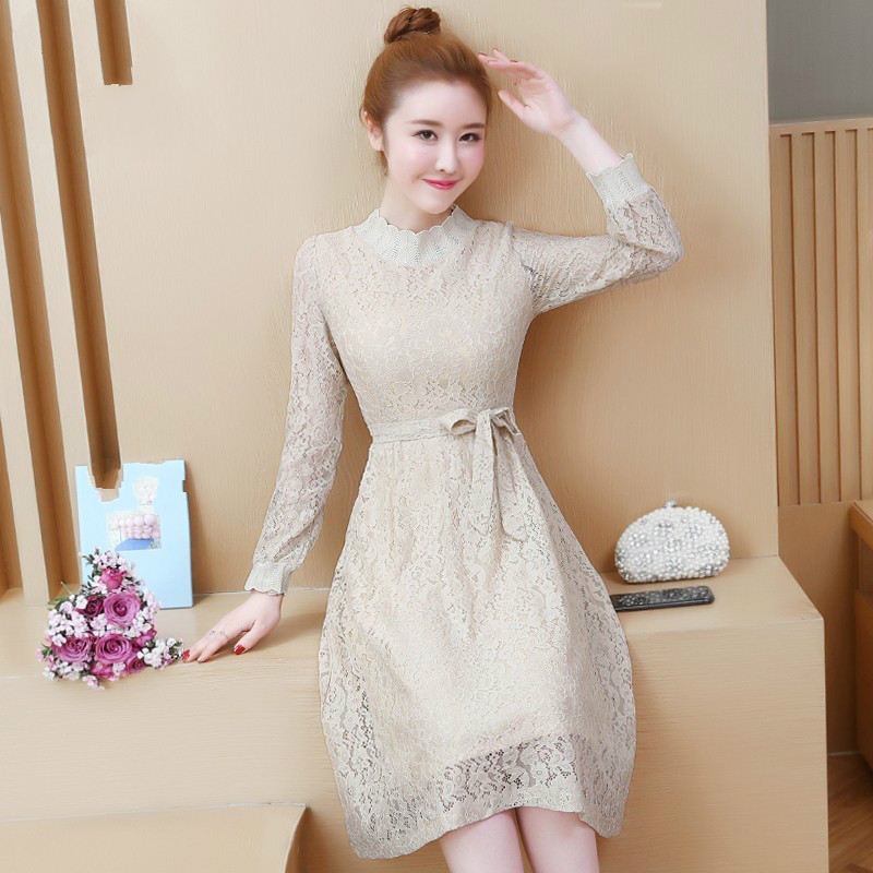 Stand Collar Long-Sleeved Party Dresses Womensolid Color Knee-Length Dress Female 2019 Spring Summer Lace Dress Vestidos