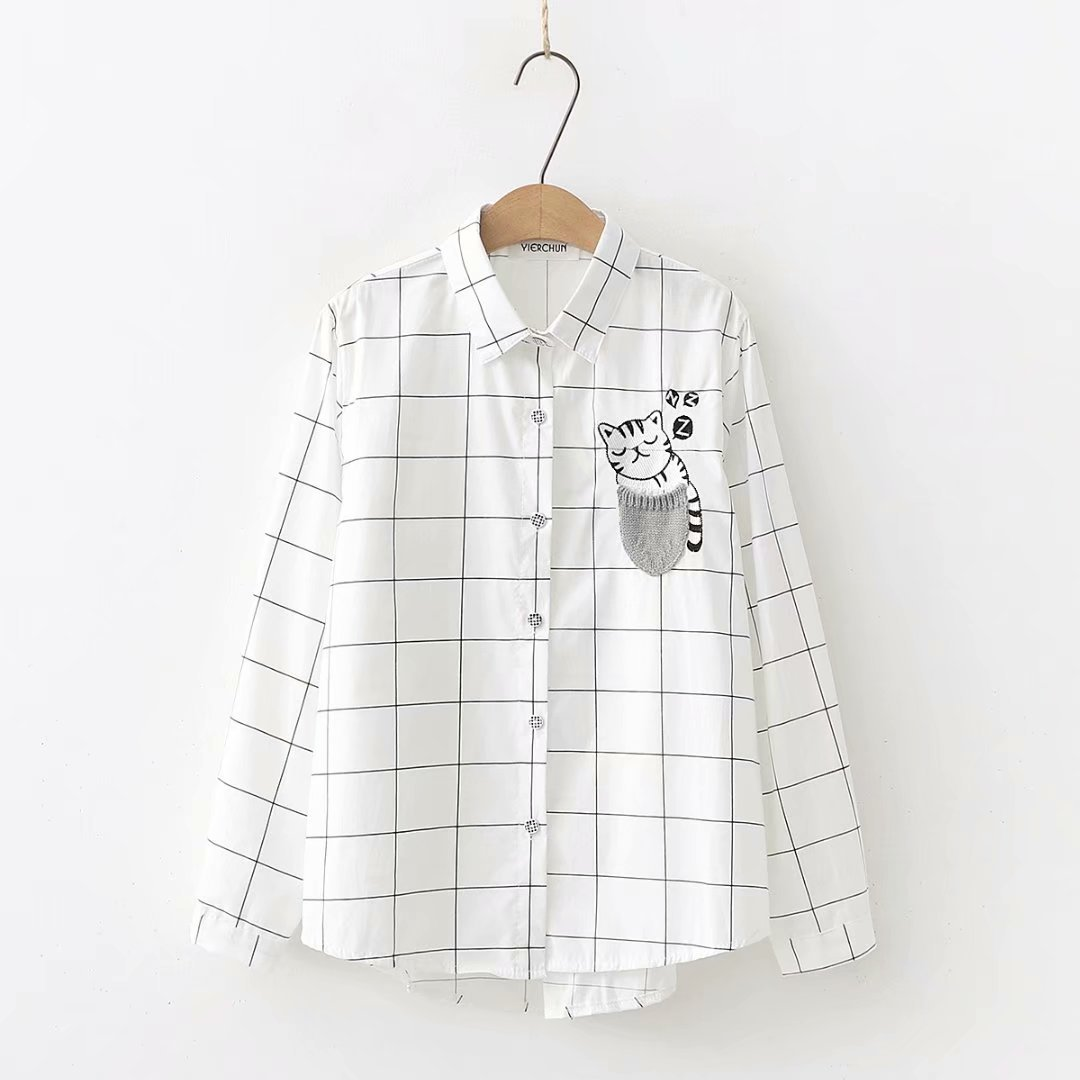 2019 Women Cute Cartoon Cat Printing Shirt Korean Long Sleeve Plaid White Shirt Casual Striped Polka
