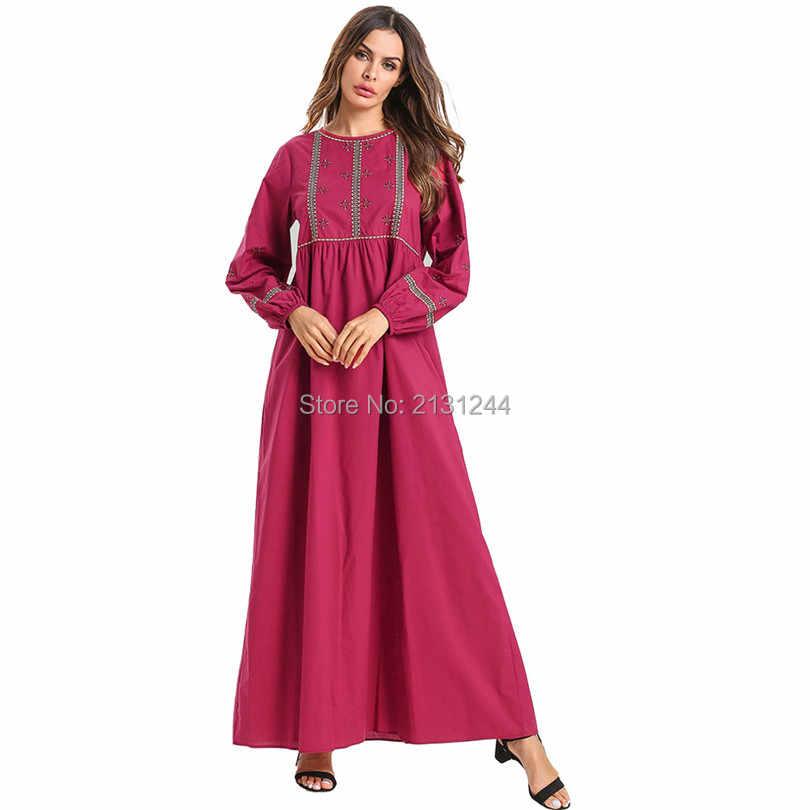 이슬람 여성 긴 소매 hijab 드레스 맥시 abaya jalabiya 이슬람 여성 드레스 의류 가운 kaftan 모로코 패션 embroidey