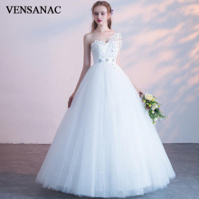 VENSANAC 2019 Crystal Flowers Sweetheart Lace Ball Gown Wedding Dresses One Shoulder Sequined Backless Bridal Gowns