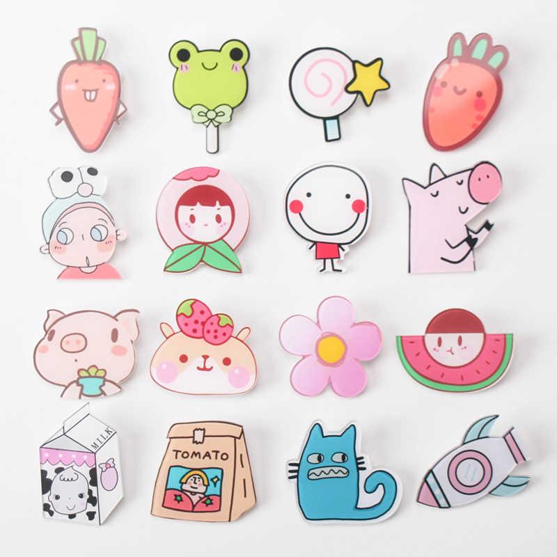 1PS MIX owoce dziewczyna kreskówka zwierzęta kultowe przypinki Kawaii ikona odznaka Bacges na plecaku przypinki do ubrań akrylowe plakietki Z47