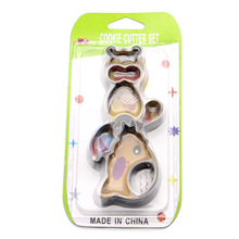 DIY Hand-made Biscuit Cutting Cake Stainless Steel Mould 6 Sets of Civet Cat Cartoon Stereo Die