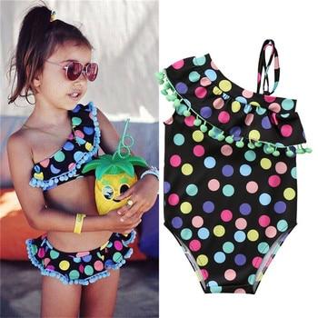 1657a38f7 2019 2-7Y niños bebé niñas Polka Dot Bikini traje de baño hermanas juego  trajes