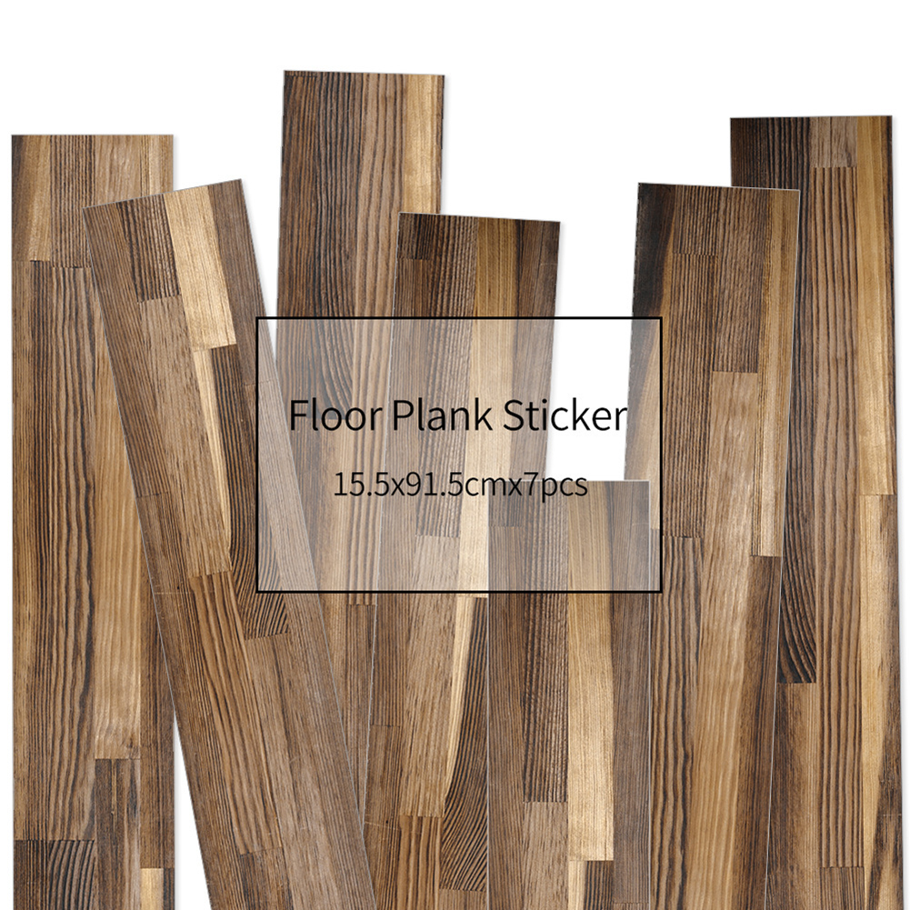 HXM 7pcs Floor stickers DIY Self adhesive Wall Tile Stickers Wood Grain Frosted Film Wallpaper Kitchen Living Room Decor #10