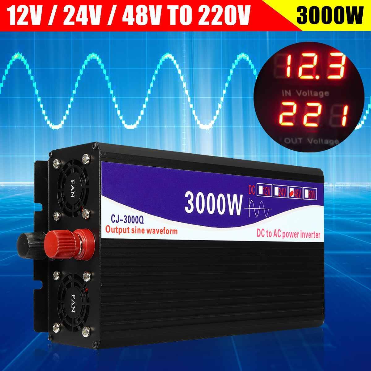 Noir 3000 W Pur Onde sinusoïdale Onduleur led affichage numérique 12 V/24 V à 220 V 50 HZ bloc d'alimentation de transformateur