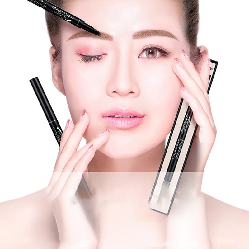 Eyebrow Pencil 4 Fork Liquid Eyebrow Pencil 5 Colors Long Lasting Eye Makeup Cosmetics Waterproof Anti-sweat Beauty Products image
