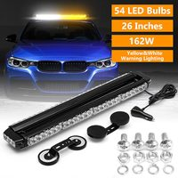 162W Polices Firemen Car Emergency Flashing Strobe Lamp Work Light Bar Amber/White 54 LED Double Sided Warning Light Assembly