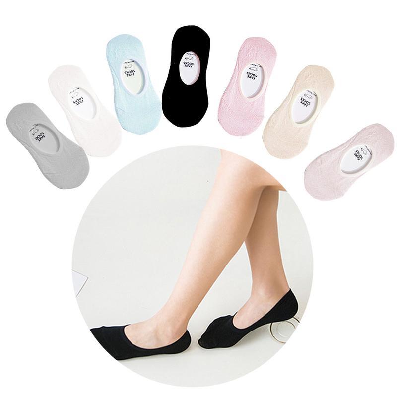 @1  1 пара лодок 7 цветов носки сплошной цвет не показать носки невидимые нескользящие хлопчатобумажные  ①