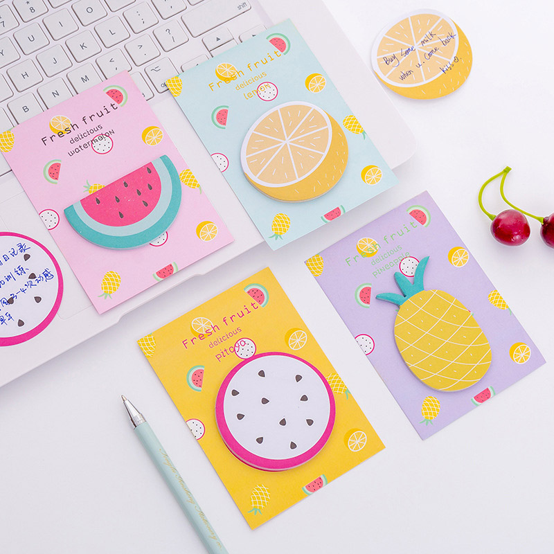 30Sheets Cute Fruit Memo Pads Cartoon Sticky Notes Multi Folding Writing Pads For Kids DIY Kawaii Stationery School Supplies