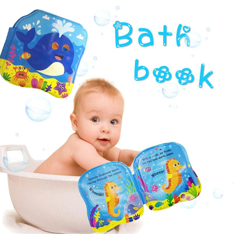 New Water Bath Book Swimming Bathroom Toy Baby Toys Early Educational Book With BB Shistle Learning Animal Digital Bathing Book