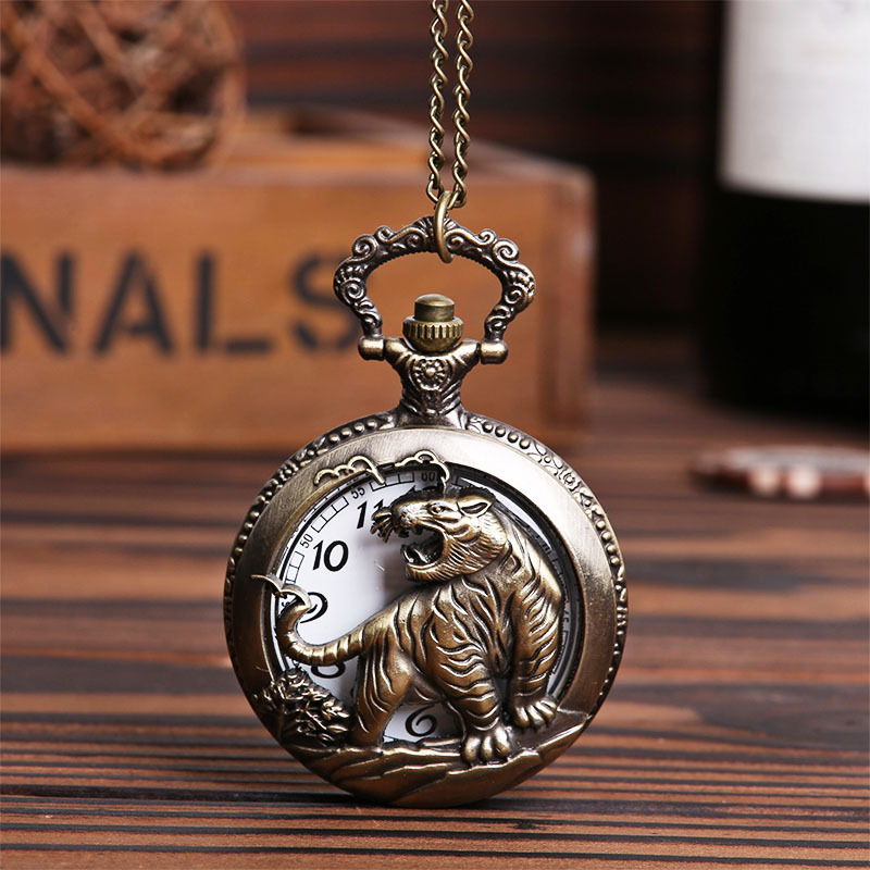 Bronze  Pocket & Fob Watches Chinese Zodiac Tiger Design Hollow Out  Quartz Pocket Watches Fob Watches  Gift for Men/Women