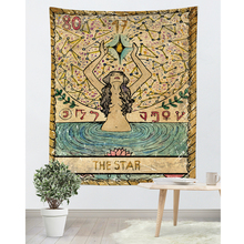 Tarot Card Old Vintage Tapestry Witchcraft Astrology Star Moon Goddess Sea Nymph Mermaid Bed Decoration Blanket Wall Cloth