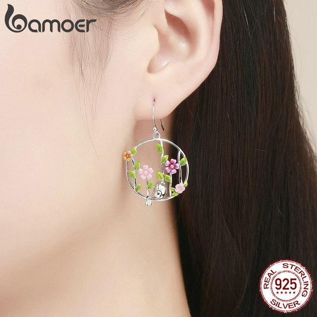 925 Sterling Silver Blooming Forest Birds Secret Drop Earrings 4