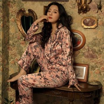4e942cc8e Pijamas de la impresión de la flor de las mujeres conjuntos de pijamas de  2019 de