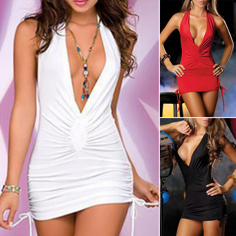 Sexy Women short dress Sleeveless Slim Robe Bodycon white deep V night party Cocktail club Mini Dress vestidos cortos in Dresses from Women 39 s Clothing