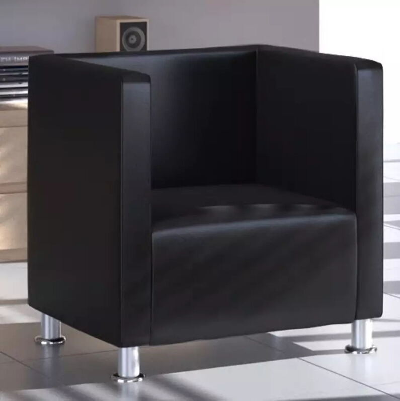 VidaXL Armchair In Cube Design Imitation Leather Black French Style Sofa Modern Coffee Bar Internet Bar Living Room Furniture image