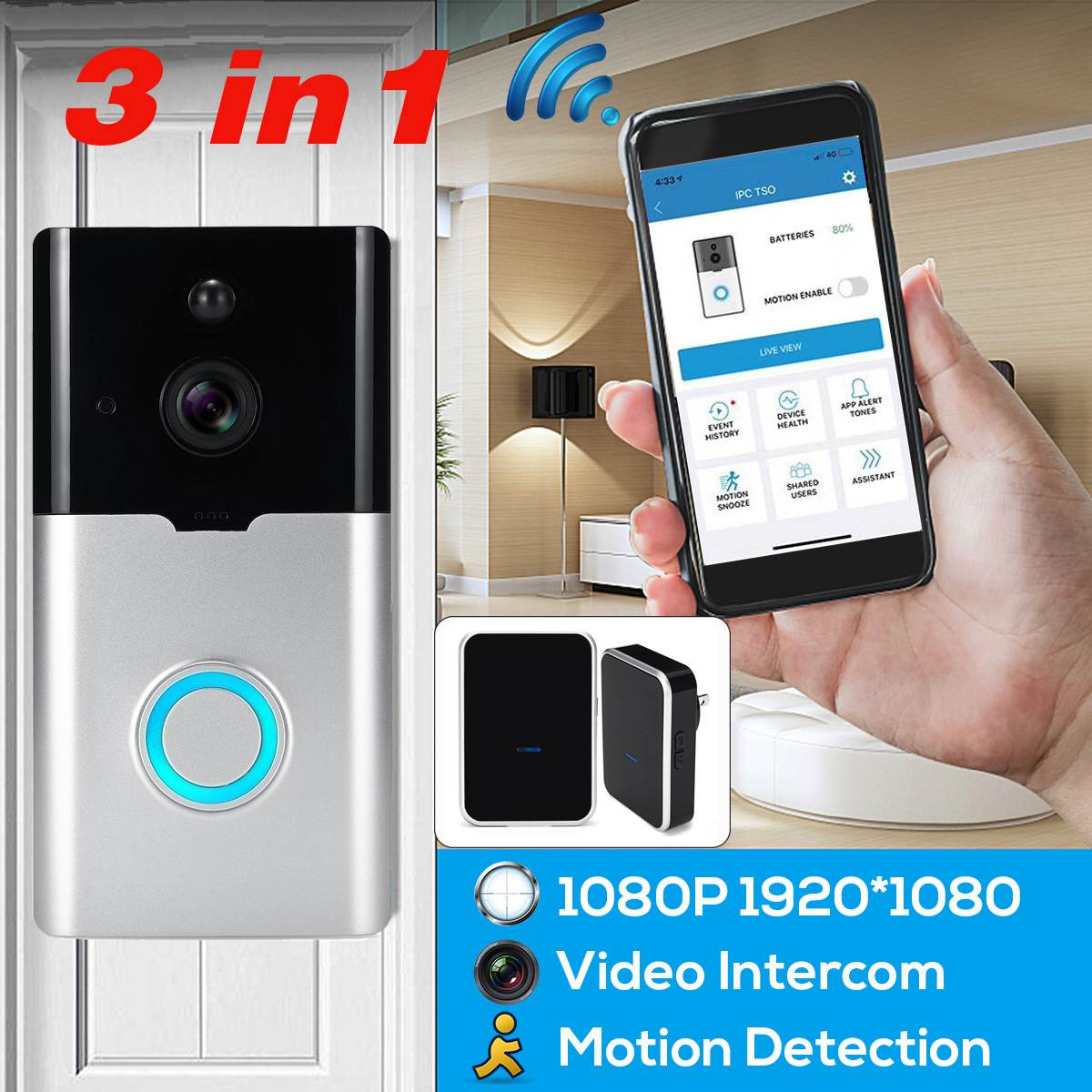 Smart Wifi Video Doorbell Camera 1080P Visual Call Intercom Recording Door Bell Ding Dong Alarm Remote Home Security Monitoring-in Video Intercom from Security & Protection    1