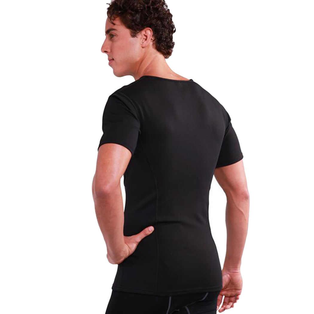 Сжигания жира Вес потери пот Корректирующее белье Для мужчин Термальность Body Shaper Спорт Фитнес Топ неопреновый корсет для похудения и занятия спортом рубашка