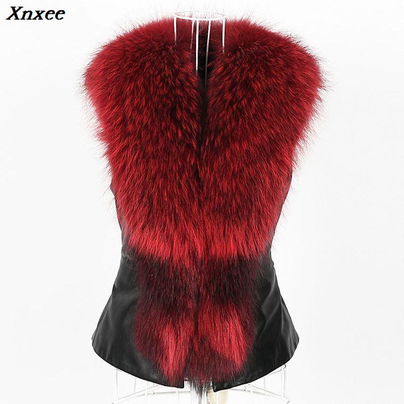 Xnxee PU Leather Faux Fur Women Winter Coat 2018 Casual Plus Size Sleeveless Faux Fox Fur Collar Vest Winter Jacket Coat Women