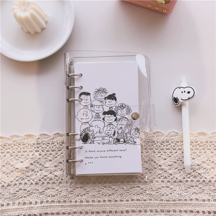 SIXONE Simple Style Rogue dog Loose Page Handbook A6 Grid Notebook Student Travel Diary office school supplies stationery