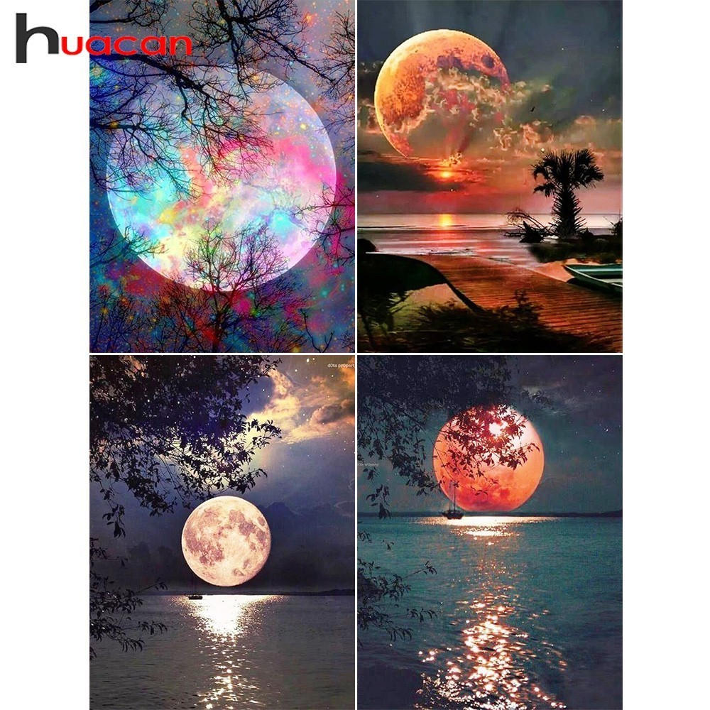 Huacan Diamond Painting Pictures Cross-Stitch Mosaic Gift Rhinestones Scenic Full-Square-Drill