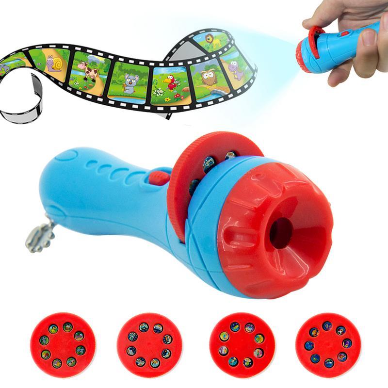 Baby Kids Sleeping Story Flashlight Projector Slide Toy Early Education Child Sleep Light Lamp