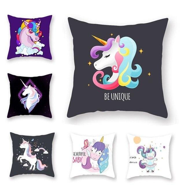 Cartoon Unicorn Series Sofa Square Cushion Cover 44x44cm Throw Pillow Case for Home Decor Sofa Bedroom Car Cushion Case