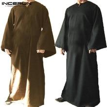 INCERUN Men Arab Islamic Kaftan Loose Long Sleeve V-neck Solid Men Dubai  Saudi Arabia 5d669b714