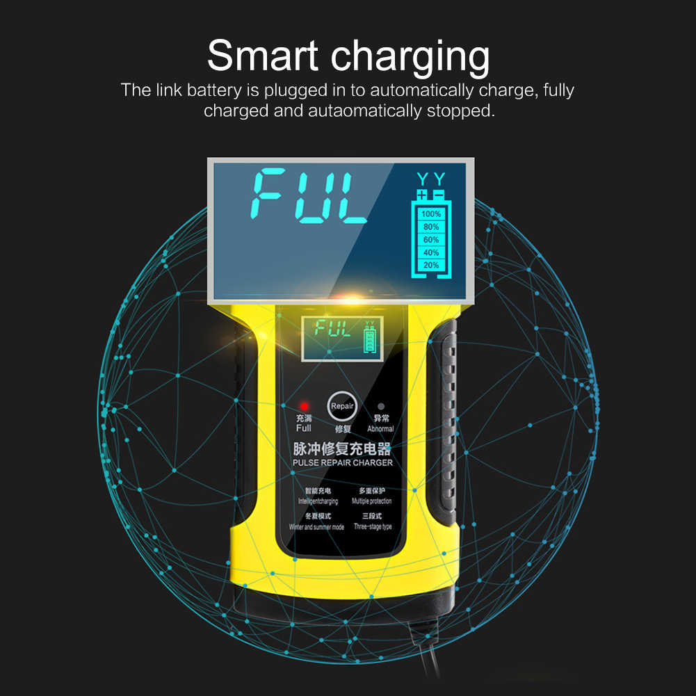 NEW Intelligent 12V 6A Car Battery Charger Dropshipping LCD Display 6-fold Protection Universal Motorcycle Charger US/EU/AU Plug