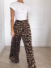 Women Leopard Wide Leg Pants High Waist Ladies casual Palazzo Pants Women Elegant Loose Long Pants 2018 Fall Ginger Pants