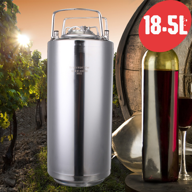 20L Stainless Steel Beer Keg+Ball Lock Pressurized Growler For Craft Beer Dispenser System Home Brew Beer Brewing Metal Handles