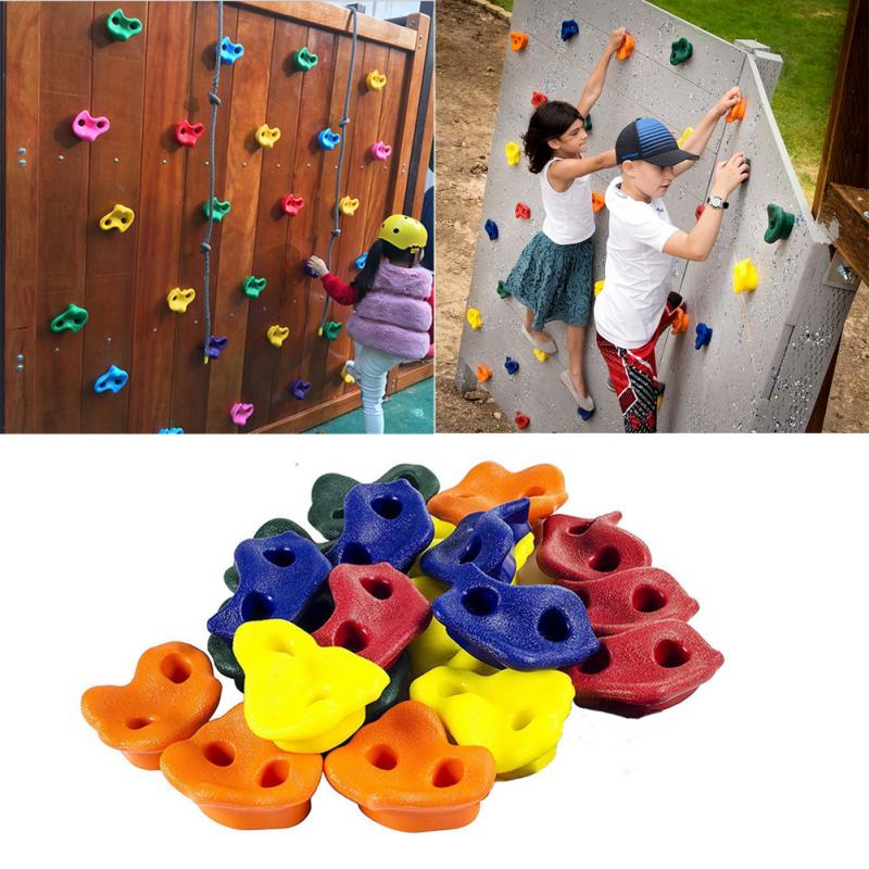Climbing Accessories 10pcs Plastic Children Kids Rock Climbing Wood Wall Stones Hand Feet Holds Grip Kits With Screw Random Color Fixing Prices According To Quality Of Products Sports & Entertainment