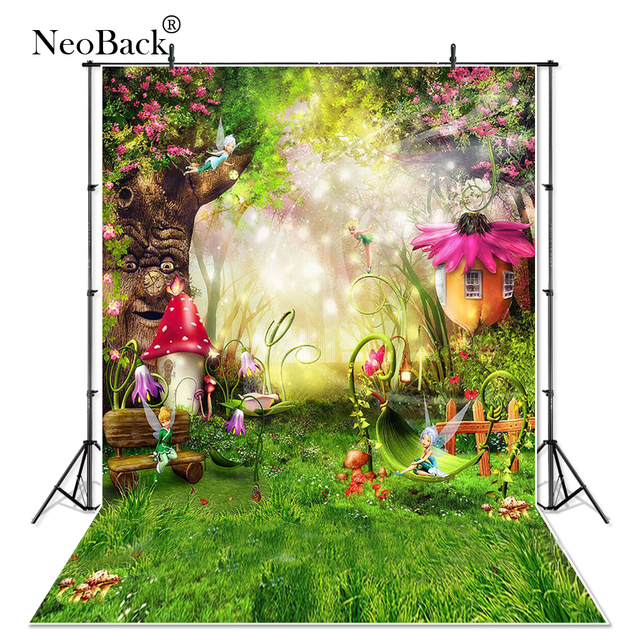 Thin Vinyl Fairy Tale Forest Photography Backdrops Children Backgrounds Photo Studio Mushrooms Elves Flowers Photo Background