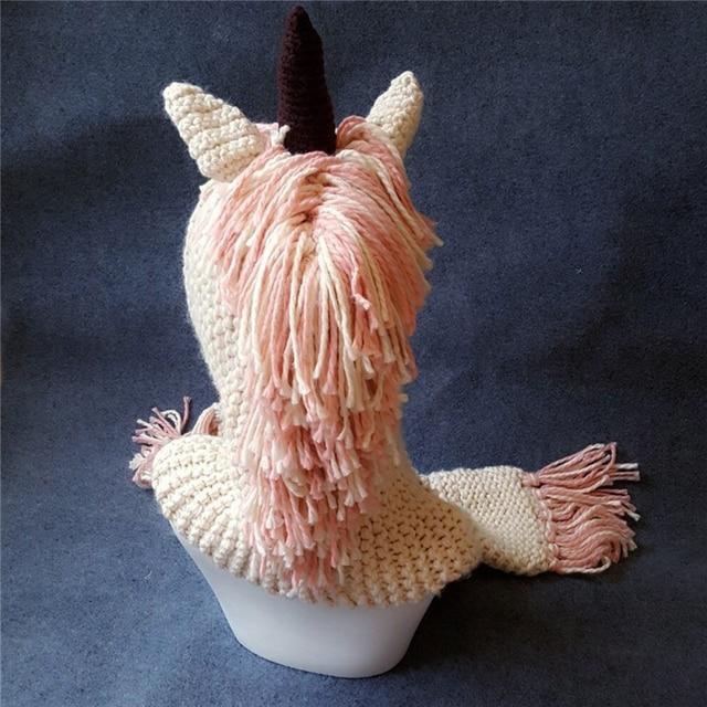 Bufanda con capucha de unicornio, Sudadera con capucha de Animal, gorro tejido para niños de ganchillo, gorro novedoso para niños y niñas, conjunto de bufanda de unicornio